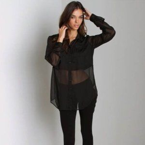 Vintage ICE sheer black 90's button down